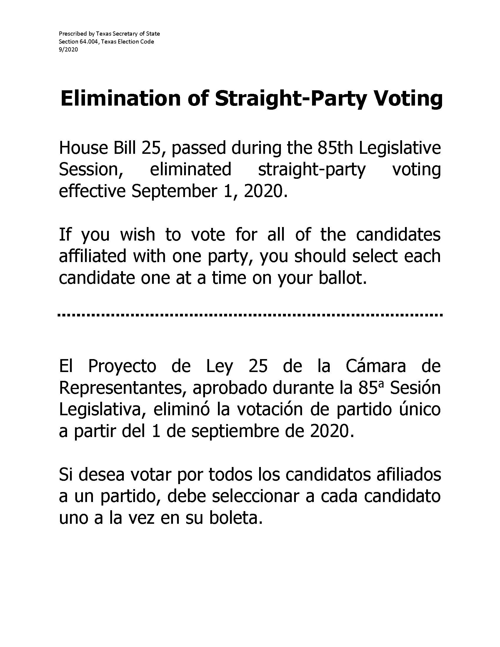 Link to PDF regarding Straight Ticket Party Elimination for the 2020 General Election